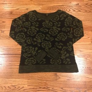 Jack sweater Floral Pattern Black and Army Green